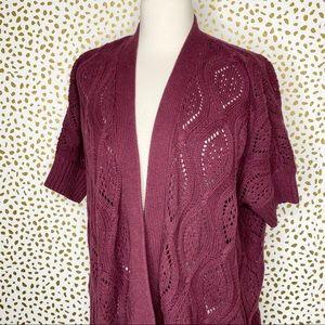 LOFT Crimson Crochet Short Sleeve Cardigan